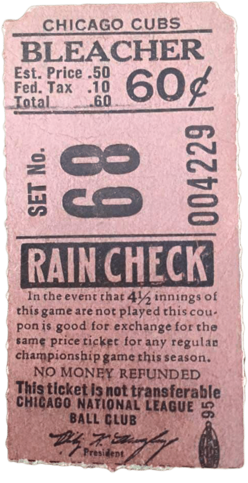 Al Bleacher ticket