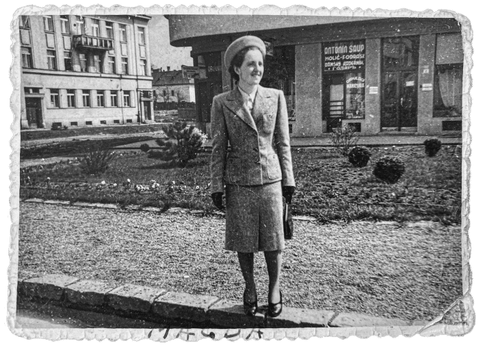 Magda wearing a new suit in Uzhhorod, 1938