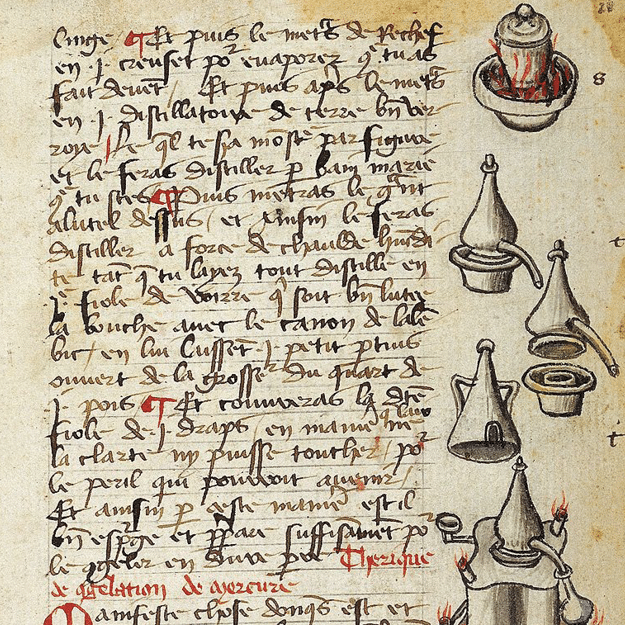An illuminated page from a book on alchemical processes and receipts