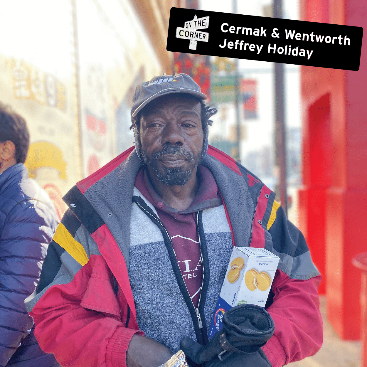 Jeffrey Holiday at the corner of Cermak and Wentworth in Chinatown, Chicago