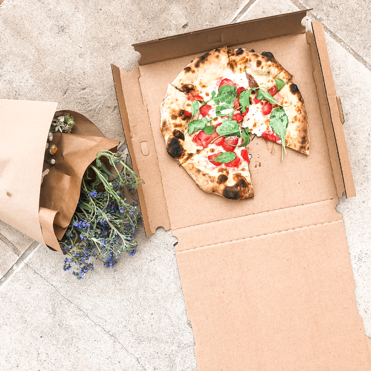 Pizza and flowers from Chicago take-out restaurant
