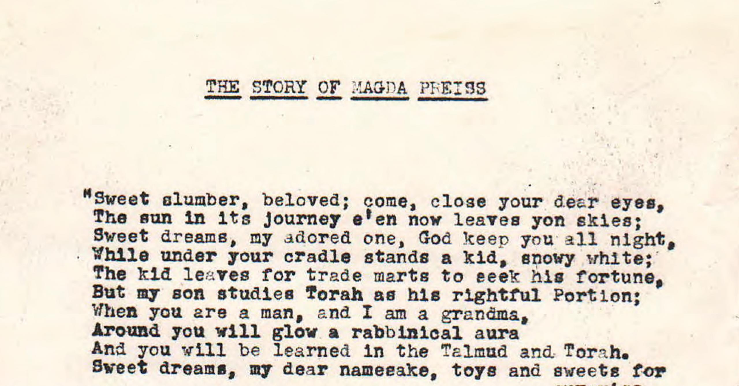 Original Manuscript for The Story of Magda Preiss
