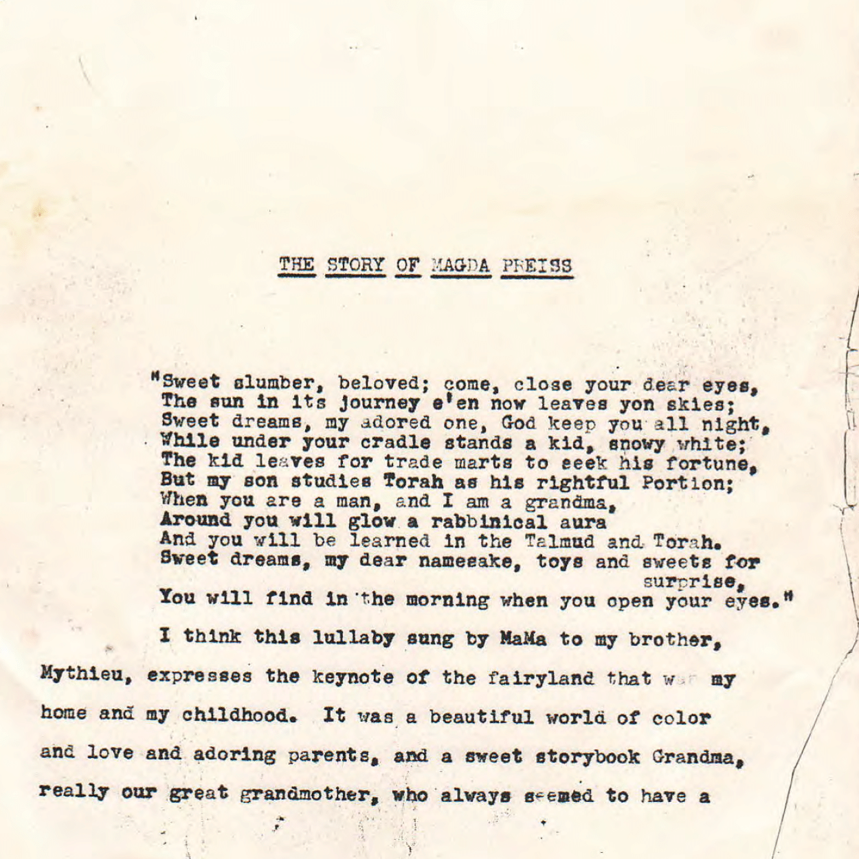 Original Manuscript for The Story of Magda Preiss