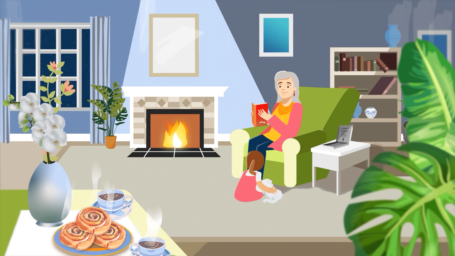 Grandma reading bioGraph book in her living room with granddaughter