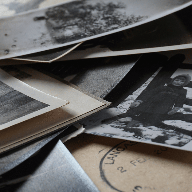 Stack of photographs and letters
