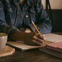 Woman writing a memoir